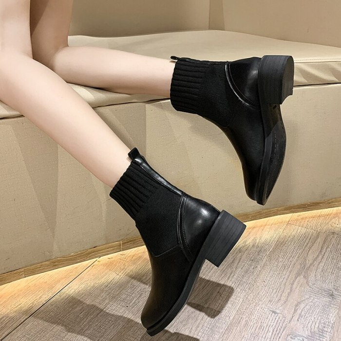 Womens Boots Winter Female Martin Botas Ankle PU Leather Shoes Round Toe Mujer Motorcycle Solid Chelsea Booties