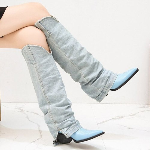 2021 Autumn Winter New Knight Boots Pointed Toe Thick High Heel Knee High Boots Fashion Female Leather Stitch Shoes Size 35-40