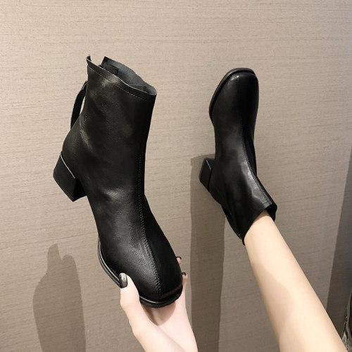 Women's Short boots 2021 autumn and winter new leather mid-heel square toe short back zipper thick heel single boots size