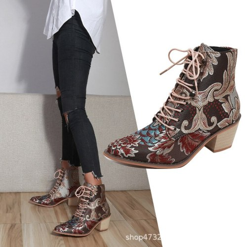 2021new comfortable height-increasing shoes fashion large size women's boots autumn and winter satin embroidery thick heel poin