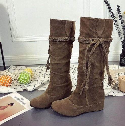 2021 Winter Boots for Women Rubber Fringe Wedge Heel Round Head Keep Warm Martin Boots Snow Boots Botas De Mujer Large Size