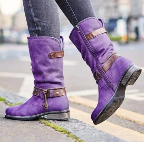 Womens Boots Retro Buckle Leather Boots Handmade PU Leather Mid-calf Booties Women High Cowboy Boots Fashion Casual Shoes