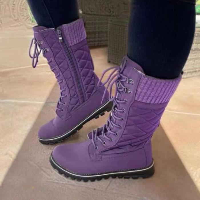 Winter Warm Boots Rivet Knight Casual Shoes Side Zipper Boots Outdoor Non-Slip Tall Tube Boots Knitted Patchwork Ladies Shoes