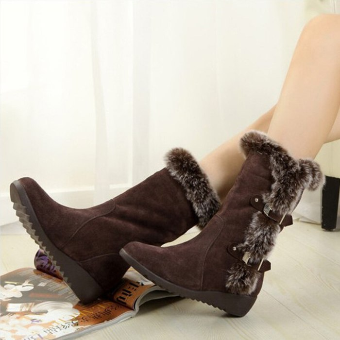 New Winter Women Boots Casual Warm Fur Mid-Calf Boots shoes Women Slip-On Round Toe wedges Snow Boots shoes Muje Plus size