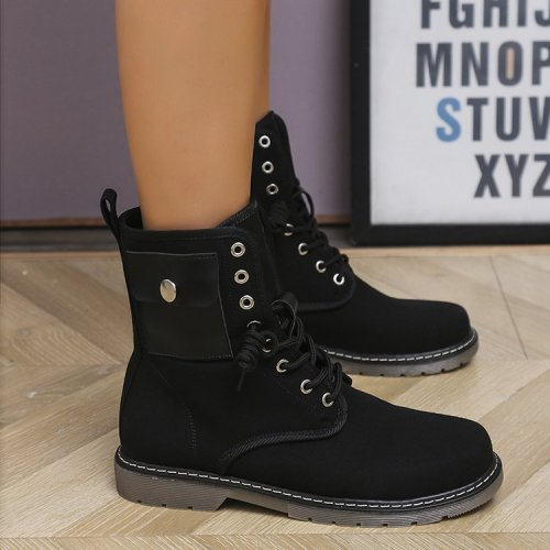 Womens Plus Size Boots Winter 2021 New Martin Boots Increase Casual Boots with Pockets Cowboy Booties Woman Chunky Platform Boot