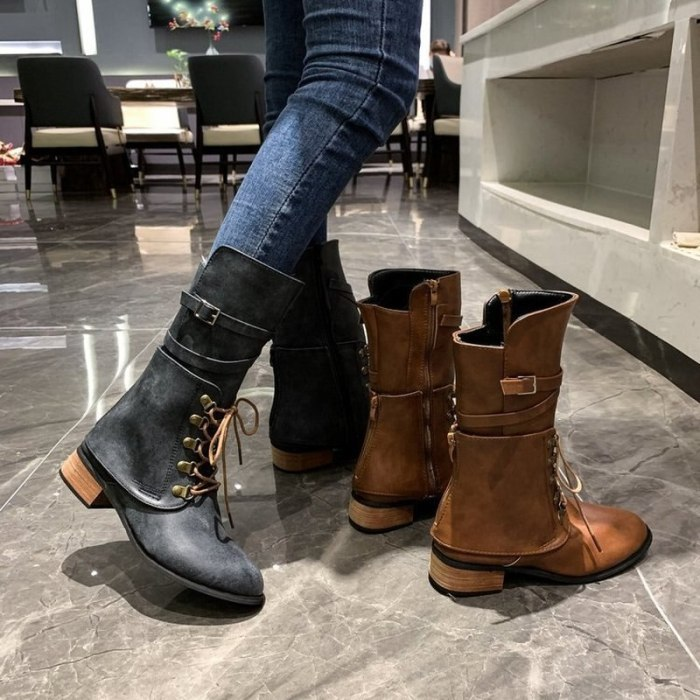 Women Boots Shoes For Woman Lace Up And Buckle Fashion Round Toe Zip 3cm Heel Basic Botas Mujer Size