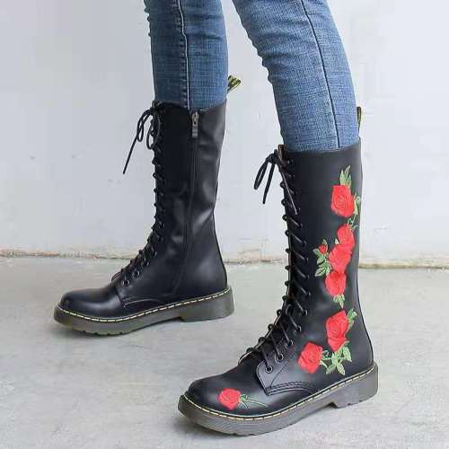 2021 Women's Riding Boots Autumn Winter Casual Shoes Leather Boots Mid-calf Boots Rose Embroidery Black White Leather High Boots