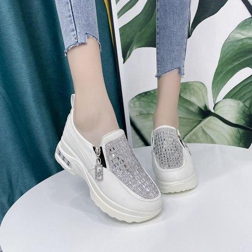 2021 Women Sneakers Black Zipper Platform Trainers Rhinestone Shoes Woman Casual Lace-Up Tenis Feminino Zapatos De Mujer Womens