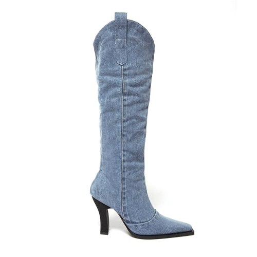 Women Boots Winter Women's Boots Denim Mid-tube Pointed Toe Rider Boots Western Cowboy Boots for Women Pattern High Heels Boots