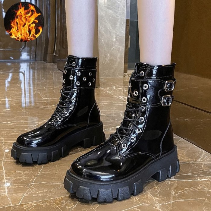 2021 Women Ankle Boots Winter Shoes Lace Up High Quality Leather Boot Anti-slip Wear-resistant Comfortable Women Ankle Boot