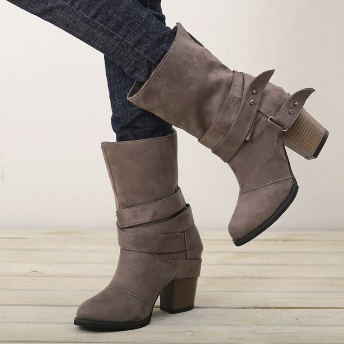 Autumn Winter Women Boots Fashion Casual Ladies Shoes Martin Boots Suede Leather Buckle Boots High Heeled Buckle Snow Boots
