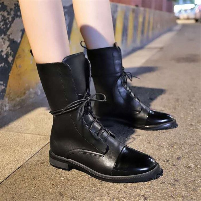New Botas Women Motorcycle Ankle Boots Female Lace Up Platforms Autumn Winter Black Leather Oxford Shoes Woman 2021 Botas Mujer