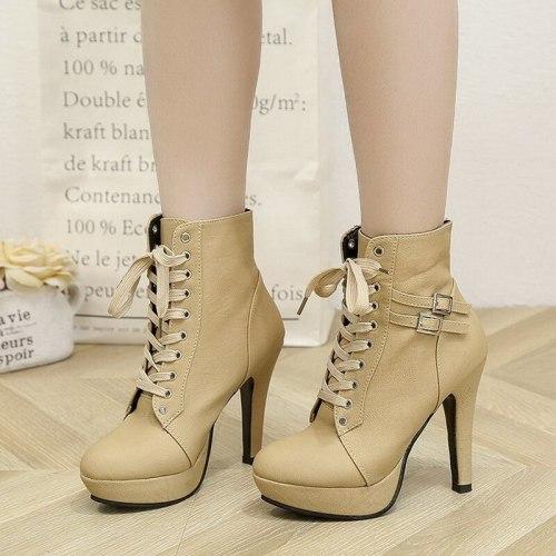 Plus Size Ankle Boots Women Platform High Heels Female Lace up Women's Shoes Buckle Woman Short Boot Ladies Footwear