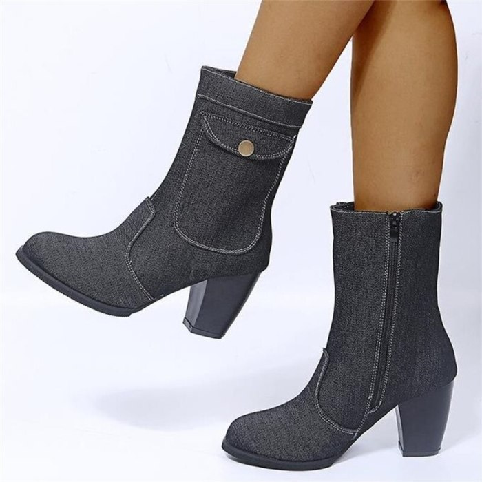 Women Boots Large Size Ladies Fashion Autumn Winter Casual Square High Heel Shoes Denim Mid-Tube Comfortable Warm Ankle Boots