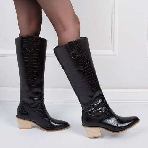 Autumn Knee High Boots Western Cowboy Boots for Women Long Winter Boots Pointed Toe Cowgirl wedges Motorcycle Boots Black
