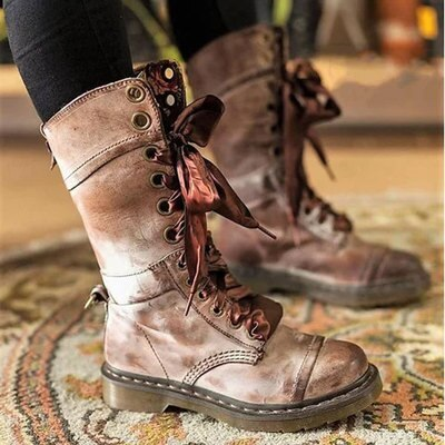 Knight Gothic Medieval Retro Carnival Party Cosplay Leather Shoes Women Autumn Winter British Style  short Tube Boots