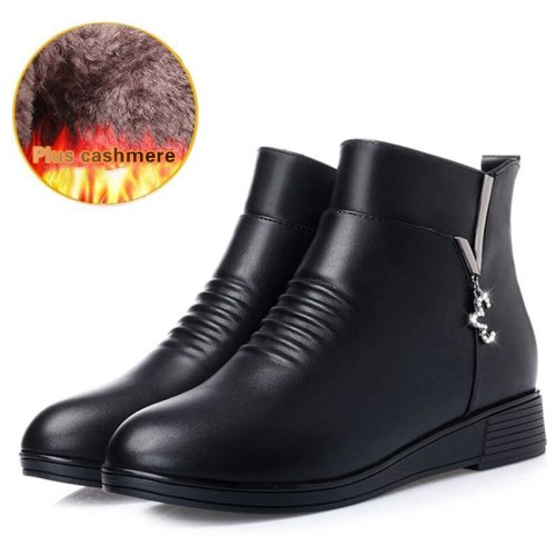 Black Wedge Womens Winter Boots Non-slip Warm Fur Ankle Boots Women Cheap Leather Boots For Mother Winter Shoes Famale