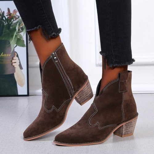 Women Nakle Boots Keep Warm Shoes Mid Heel Pointed Toe Boots for Woman Fashion Zip Shoes Botas Mujer Plus Size