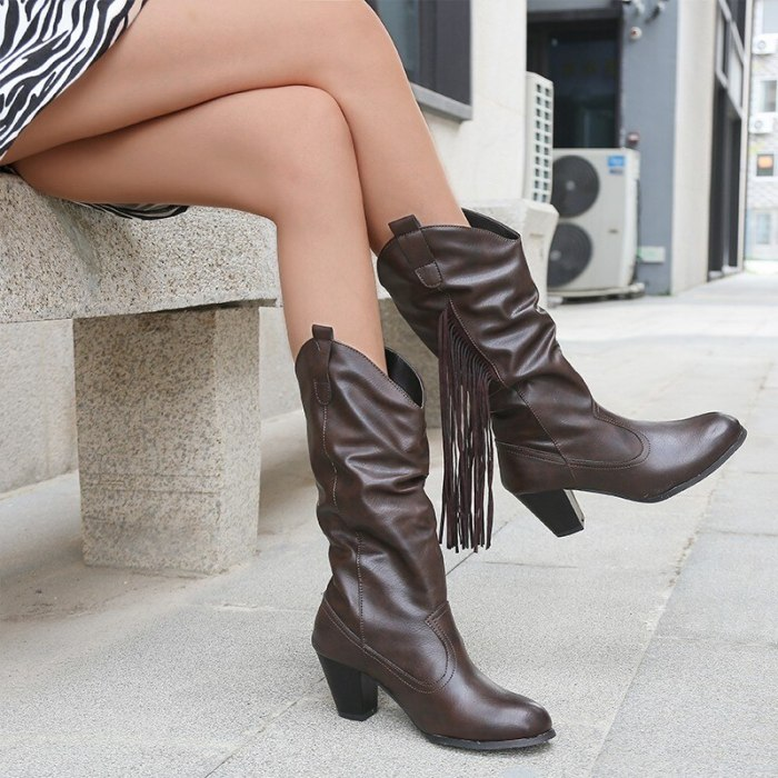 Designer 2021 Winter New Rome Mid-calf High Heels Chelsea Boots Women PU Leather Chunky Goth Boots Fringe Mujer Pumps Zapatos