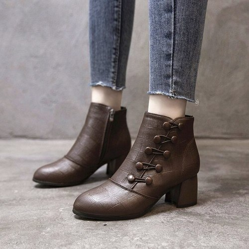 Women's Ankle Boots Zippers Ladies Fashion Shoes Women Short Boots Boats Platform Square Heels Female Footwear Slip On 2021 New