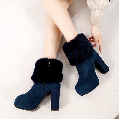 2021New Style Winter Women's Boots Fashion Zipper Square-Heel Platform Suede Boots Round Toe Super High Heel Women's Ankle Boots