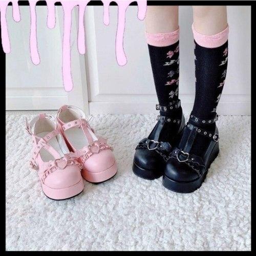 2021 Brand Girls Platform Wedges Angel Bat Marry Janes Pumps Buckle Women's Pumps New INS Cosplay Lolita Japanese Shoes Woman