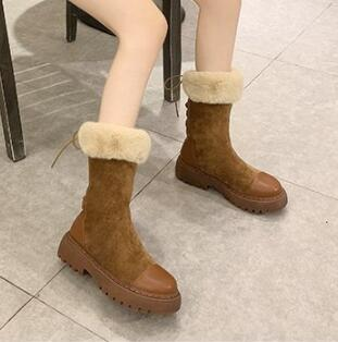Women Mid-calf Boots High Tube Thick Fleece Models Autumn Winter Plush Snow Boots Big Cotton Shoes Woman Quality Warm Boots