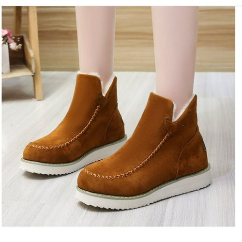 Plus Size Women's Shoes Winter 2021 New Style Women's Thick-soled Cotton Boots Solid Color Foot Warm Ankle Boots Women's  Boots