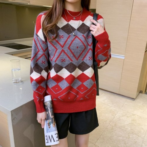 Autumn Winter Geometric Printed Women's Sweaters Long Sleeve O-Neck Vintage Loose Knitting Pullovers Female Chic Tops