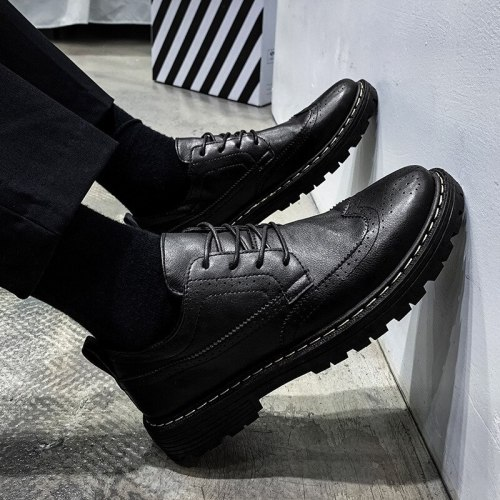 Men Leather Dress shoes Formal Elegant Classic Business Wedding Social Male Fashion Flat Brogue Footwear Party Lace Up