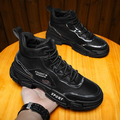 New Men Boots Leather Waterproof Lace Up Military Boots Men Ankle Lightweight Shoes for Men Sneakers Spring Autumn Casual