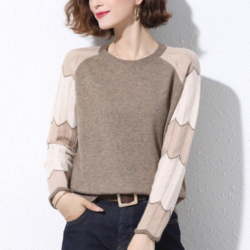 Jumper Ladies Sweater Loose Thin Pullovers splice Sweaters Autumn 2021 women's knitted Tops Casual clothes Female Simplicity New
