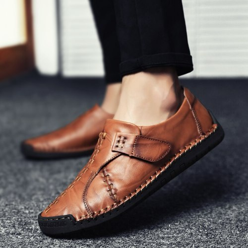 Leather Men Casual Shoes Handmade Moccasins Luxury Brand Rubber Sole Mens Loafers Black Sneakers Formal Shoes Size  Footwear