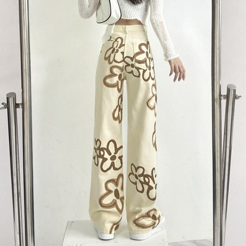 Harajuku Floral Print Women Jeans Autumn2021  Hip Hop Khaki High Waist Streetwear Casual Loose Straight Long Trousers Vintage