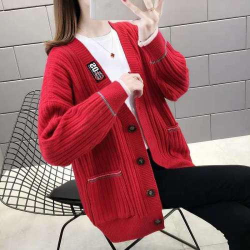 Women's Sweater's Spring Autumn Casual V-neck Knitted Cardigans Single Breasted Red Sweater Appliques Korean loose Cardigan