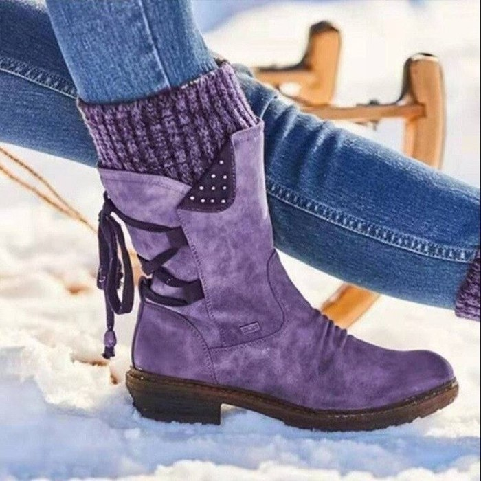 2021 Women Winter Mid-Calf Boots Flock Winter Shoes Ladies Fashion Snow Boots Shoes Thigh High Suede Warm Botas Boots Women