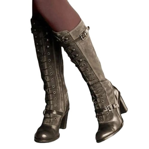 Women Vintage Medieval Boots Retro High Boots Square Heel Pu Leather Winter Boots Women Knee-high Round Toe Botas Mujer
