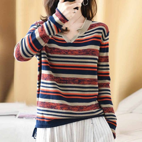 Spring Autumn 2021 Fashion Sweaters Loose Striped Cotton Pullovers Ladies Tops Long Sleeve Knitted V-Neck Female Jumper Sweater