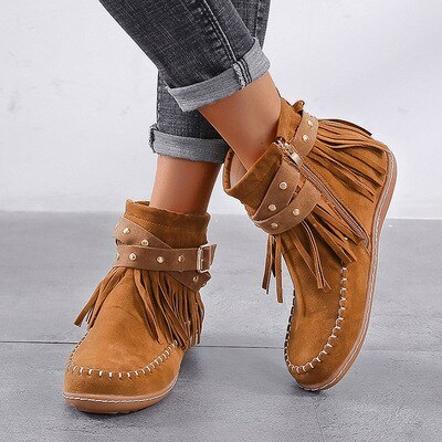 Autumn mid-barrel winter Wind and side zipper round suede boots large size 2021 women boots