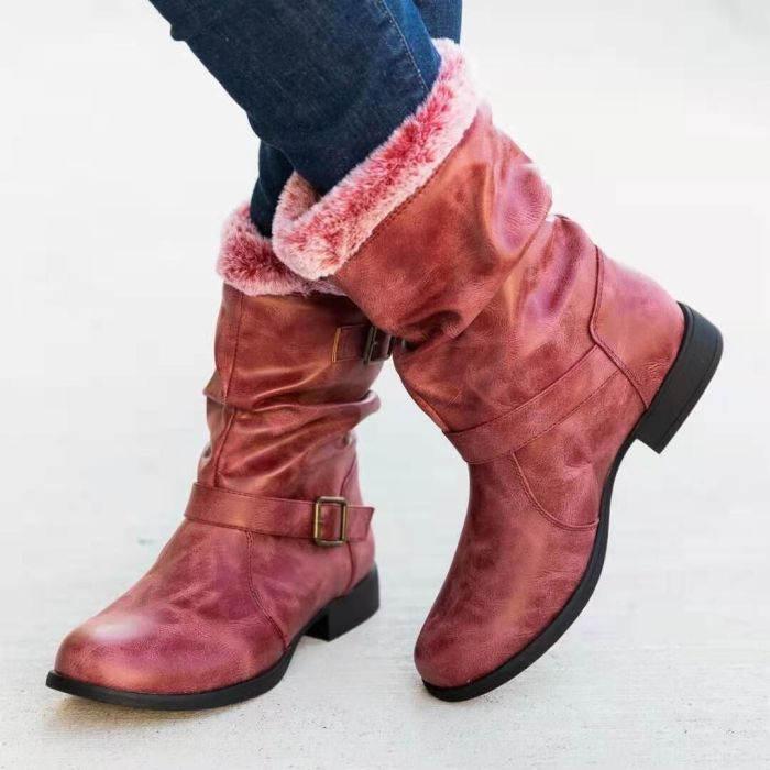 Casual Winter Plush Warm Women's Boots Outdoor Casual Personality Low-heel Mid-nude Boots Boots Female Women Shoes Fashion