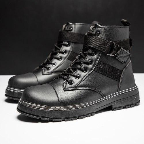 Men's Boots Lace Up Black Men's Leather Boots Italian Style Men Chelsea Boots Outdoor Waterproof Men's Ankle Boots