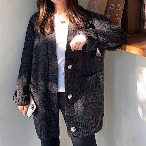 Autumn Winter Thick Oversized Knitted Cardigan Sweater Women 2021 Single Breasted Crochet Outerwear Full Sleeve