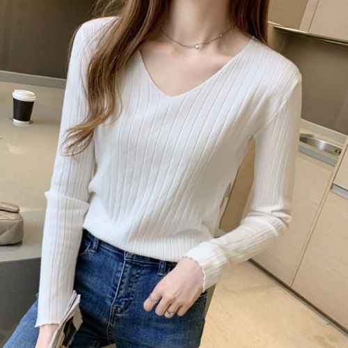 New Autumn Winter Womens Knitwear Sweater Casual V Neck Jumper Women Korean Sweaters Ladies Slim Pullover Solid Sueters De Mujer