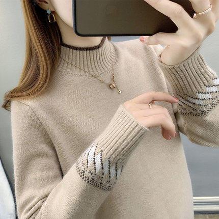 Half Turtleneck Women Sweater Winter Korean Long Sleeve Knitted Jumper Causal Thick Pullover Warm Soft Fall Sweater