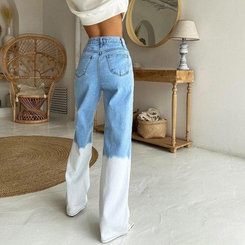Tie Dye Jeans  Pants Big Pockets Trousers High Waist Denim Pants  Women Pants Streetwear Retro Cargo Pants New