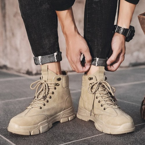 Men Boots Leather Waterproof Lace Up Military Boots Men New Autumn Winter Ankle Lightweight Shoes For Men Casual Non Slip