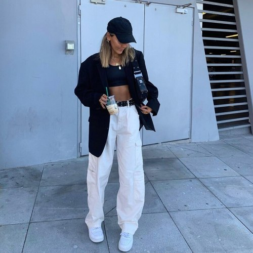 Wide Leg Jeans Women Cargo Pants Plus Size White Pockets Woman Jeans High Waist Streetwear Demin Straight Pants Casual