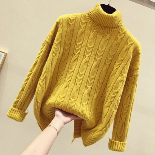 Loose Autumn Sweater Women 2021 New Korean Elegant Knitted Sweater Oversized Warm Female Pullovers Fashion Solid Tops
