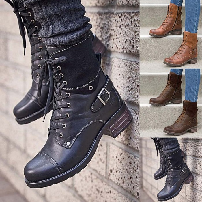 Women's Ladies Fashion Casual Boots Square Heels Short Ankle Boots Slip On Shoes Square Heel High Street Female Winter Boots