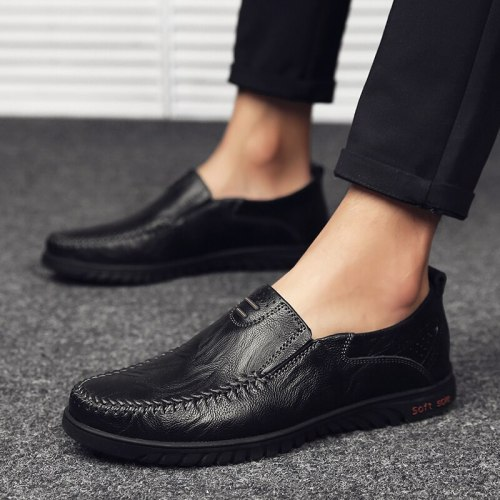 2021 New Luxury Men Leather Formal Business Drive Shoes Men's Casual Leather Shoes Breathable Feet Casual Flat Peas Men's Shoes